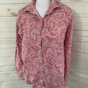 Talbots Red White Paisley Button Down Top